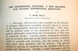 The Differential Analyzer. A New Machine for Solving Differential Equations: Bush, Vannevar