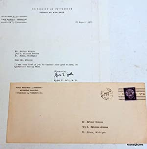 Jonas Salk typed signed letter with envelope