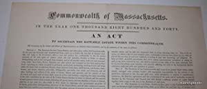 Commonwealth of Massachusetts. In the year one thousand eight hundred and forty. An Act to ascert...