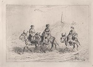 Original etching of three women riding donkeys: Veyrassat.,Jules J 1828-1893.: