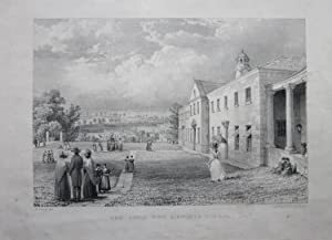 Original Lithograph c 1837 of ACKWORTH SCHOOL - The Girls Wing.