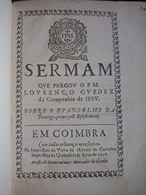 Mujeres impresoras] Sermam que pregou o P.M.: Guedez, Lourenço