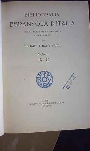 Bibliografia espanyola d'Italia. Dels origens de la: Toda y Güell,