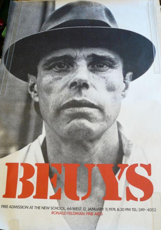 poster announcing a 1980 exhibition of works by andy warhol and joseph beuys in italy at the lucio amelio gallery