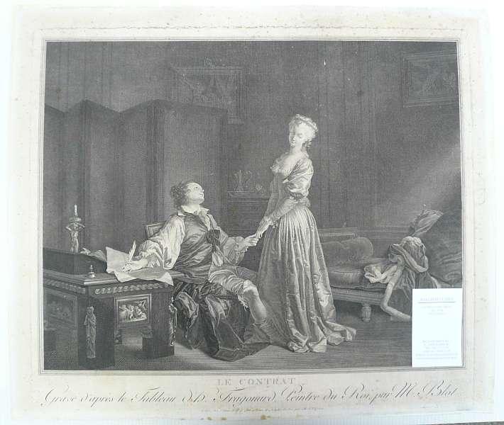 Le Contrat. (Der Ehevertrag). Kupferstich nach Fragonard: Fragonard, Jean-Honoré (1732