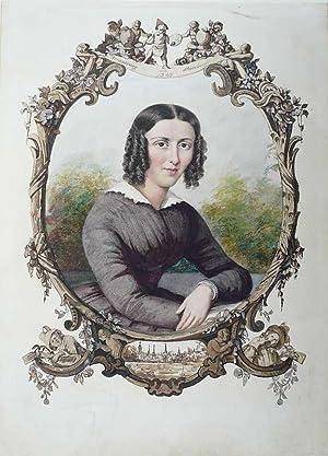 Portrait einer jungen Frau. Aquarell, mit Silber: Hamburger Maler Mitte