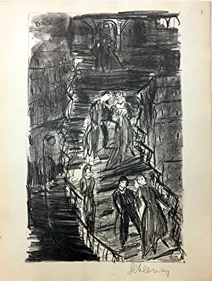 Treppe in Fiesole. Lithographie.
