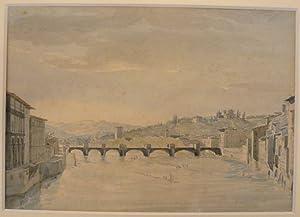 Ponte alle Grazie in Florenz. Aquarell und: Gherardi, Giuseppe (1788/90