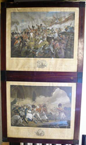 Tippo Sultan: Defeat at Seringapatem and his death. Set of 4 handcolored engravings after Henry S...