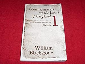 Commentaries on the Laws of England : Volume 1