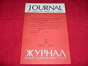 Journal of Ukrainian Studies [5: Fall 1978]