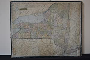 Map of New York State, printed in color and mounted on thick board cut to form puzzle pieces in the...