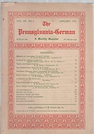 The Pennsylvania-German Vol. XII No. 1 January: Kriebel, H. W.