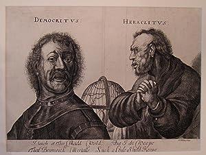 W. Hollar. Original Engraving: Democritus and Heraclitus: Wenceslaus Hollar