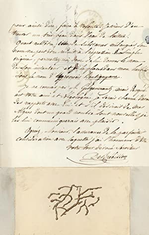 Autograph letter signed to Pierre Hippolyte Boutigny, accompanied by watercolor sketch of an alga: ...