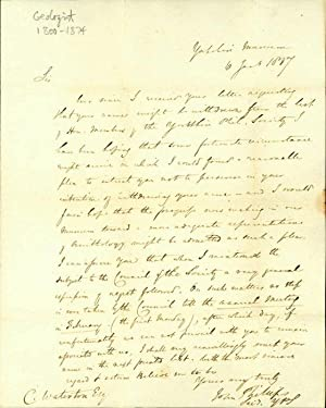 Autograph letter signed to Charles Waterton: Phillips, John
