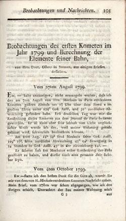 Beobachtungen des ersten Kometen im Jahr 1799 und Berechnung der Elemente seiner Bahn: Olbers, ...