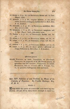 Solutions of some problems by means of the calculus of functions: Babbage, Charles
