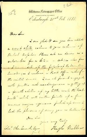 Autograph letter signed to Edward Charlesworth: Miller, Hugh