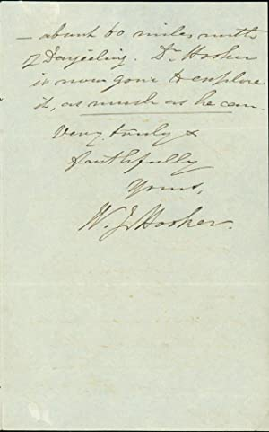 Autograph letter signed to an unidentified correspondent: Hooker, William Jackson