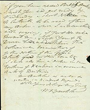 Autograph letter signed to Charles Stokes: Buckland, William
