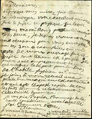 Autograph letter signed to Samuel H. Christie: Ampere, Andre Marie