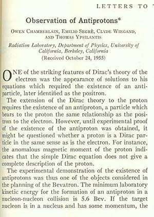 Observation of antiprotons: Chamberlain, Owen; Segre, Emilio et al.