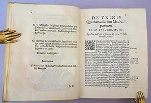 De urinis et pulsibus de missione sanguinis de febribus de morbis capitis, et pectoris. Inscribed ...
