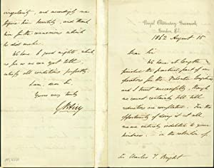 Autograph letter signed to Charles Tilston Bright: Airy, George Biddell