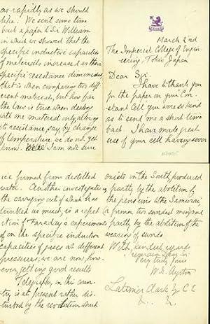 Autograph letter signed to Latimer Clark: Ayrton, William Edward