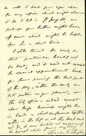 Autograph letter signed to Latimer Clark: Bright, Charles Tilston