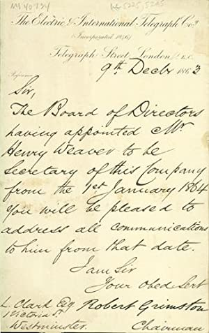Autograph letter signed to Latimer Clark: Grimston, Robert