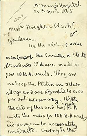 Autograph letter signed to Charles Bright and Latimer Clark: Matthiessen, Augustus