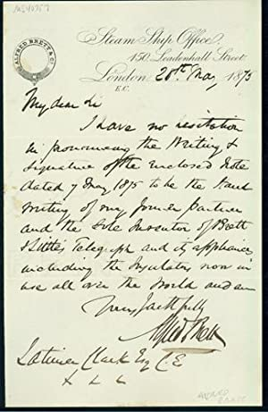 Autograph letter signed to Latimer Clark: Brett, Alfred