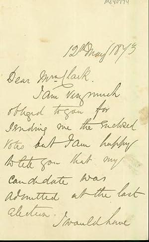 Autograph letter signed to Latimer Clark: Scudamore, Frank Ives