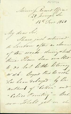Autograph letter signed to Charles Vincent Walker: Hunt, Robert