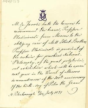Autograph letter to Elliot Brothers: Jacobi, Moritz Hermann von