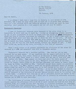Typed letter signed to Dr. Ancell discussing the nature of scientific research: Bragg, William ...