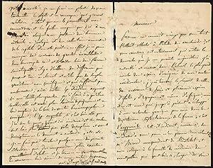 Autograph letter signed, with entomologial content: Dugès, Antoine Louis