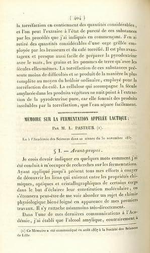 Memoire sur la fermentation appelee lactique: Pasteur, Louis