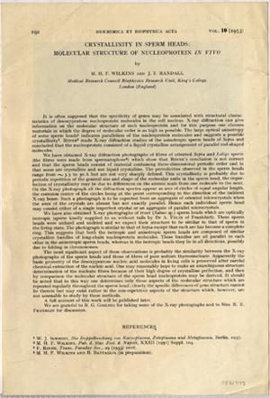 Crystallinity in sperm heads. Offprint: Wilkins & Randall