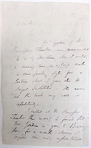 Autograph letter signed to Mr. Lloyd(?): Lyell, Charles