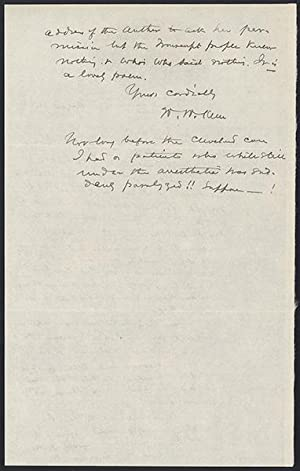 Autograph letter signed to M. Jacques: Keen, William Williams