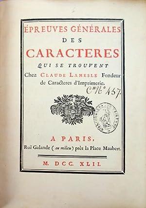 Epreuves générales des caractères: Lamesle, Claude