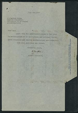 Typed letter signed to historian of physics: Einstein, Albert
