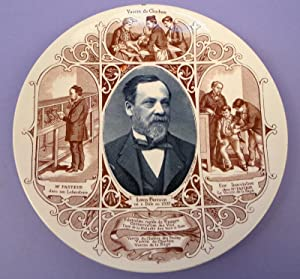 Commemorative ceramic plate, with Pasteur's portrait and scenes from his life: Pasteur, Louis
