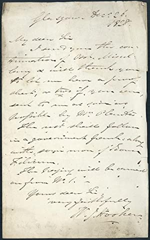 Autograph letter signed to Richard Taylor: Hooker, William Jackson