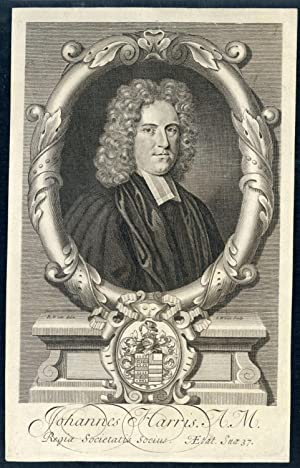Johannes Harris A.M. Regiae Societatis Socius. Engraved portrait by G. White after R. White: Harris...