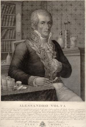 Alessandro Volta. Engraved portrait By Rados after Focosi: Volta, Alessandro