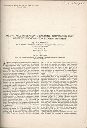 22 offprints, mimeographs, etc. on molecular biology and bacterial genetics, with two others: Jacob...